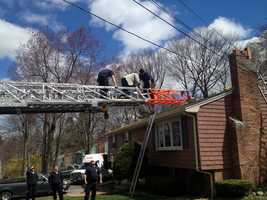 Fortunately, the man was not electrocuted after becoming entangles in the power line.
