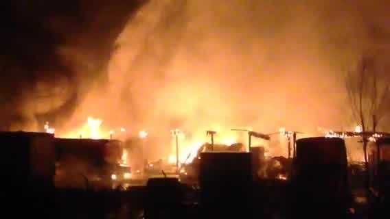 Crews battled a massive blaze at a truck dealership and service center in Concord on Thursday morning.