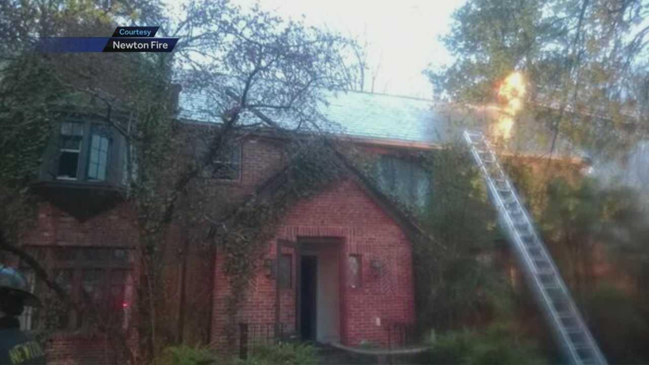 Crews battle 3-alarm fire in Newton