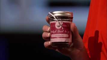 A close-up at one of the jars the shown to the sharks on the show over a year ago.