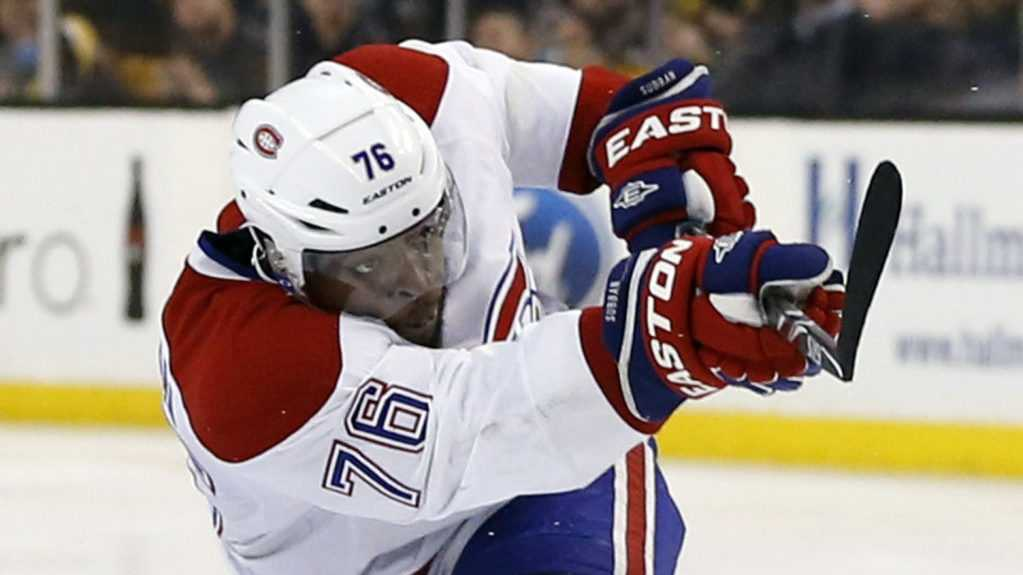 Montreal Canadiens' P.K. Subban follows through on his game-winning goal in the second overtime period against the Boston Bruins in Game 1 of an NHL hockey second-round playoff series in Boston, Thursday, May 1, 2014. The Canadiens won 4-3.