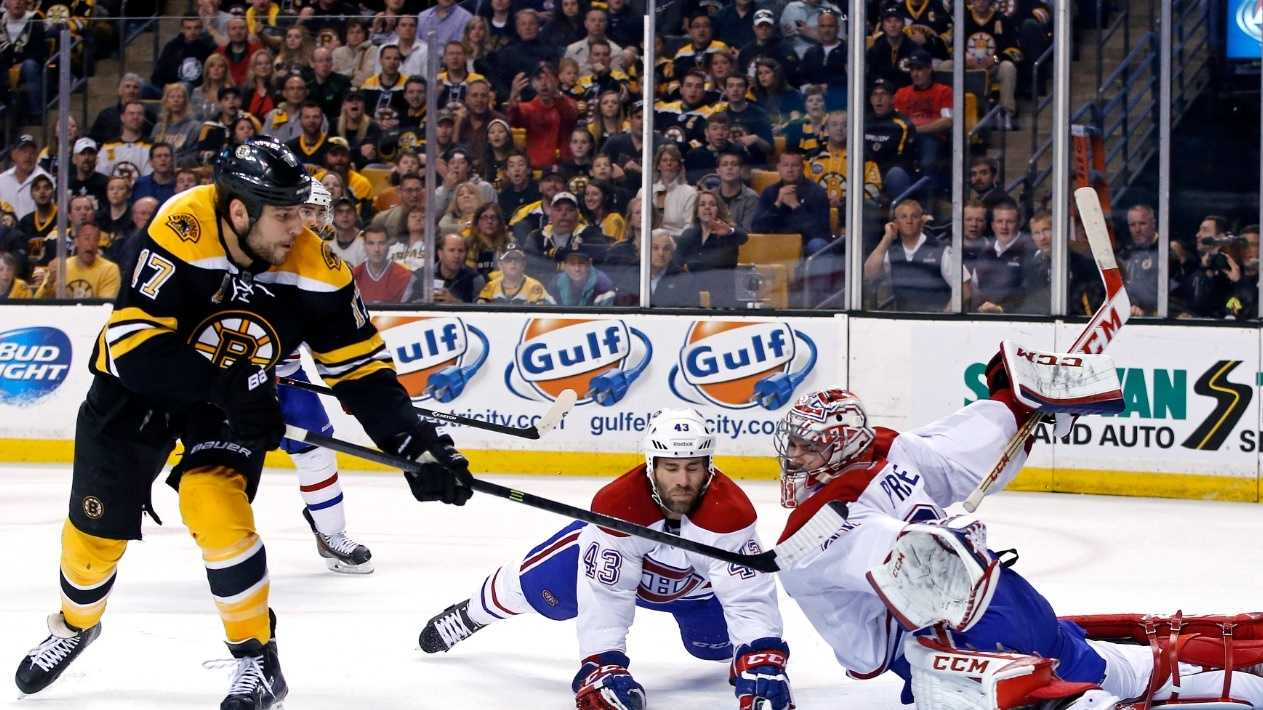 Montreal Canadiens goalie Carey Price (31) and defenseman Mike Weaver (43) both dive to make a save against a shot by Boston Bruins left wing Milan Lucic (17) during the second period in Game 2 of an NHL hockey second-round playoff series in Boston, Saturday, May 3, 2014. (AP Photo/Elise Amendola)