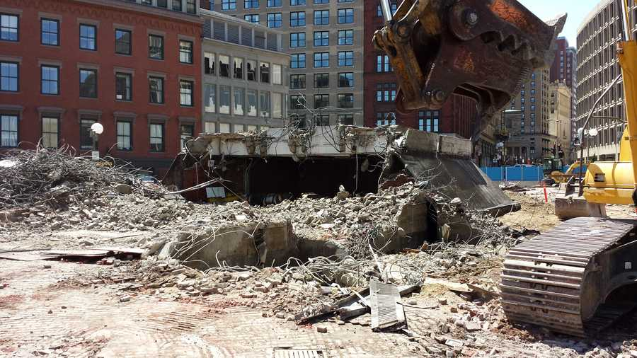 The demolition of the old head house on City Hall Plaza began May 7. It will be completely gone by May 9, according to the MBTA.