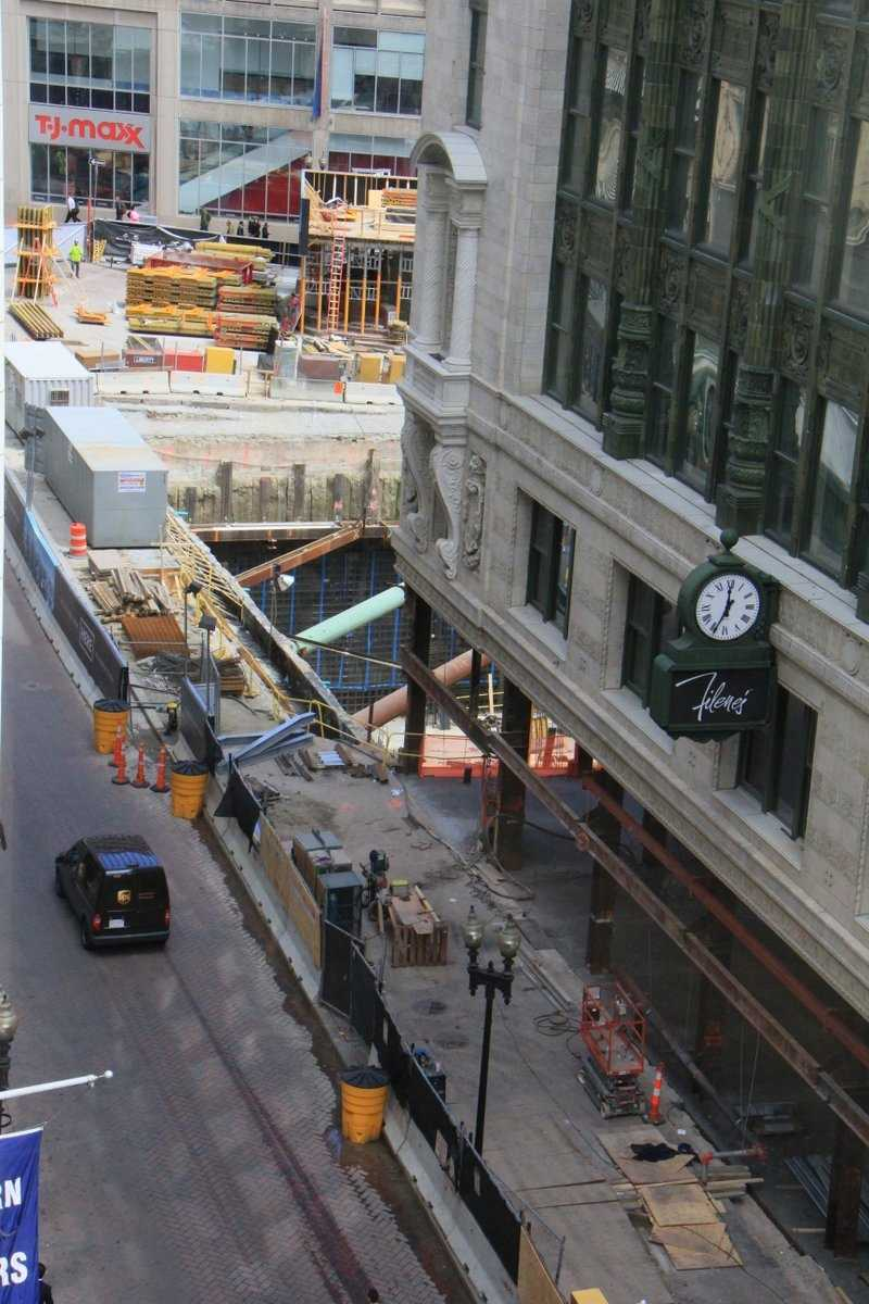 The view of Downtown Crossing and Filene's from one of the rooms at Hamilton Crossing.