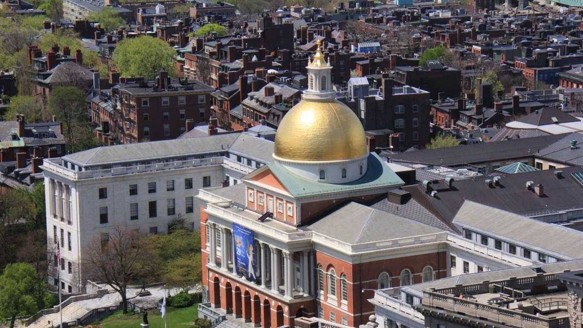 A clear view of the Massachusetts Statehouse as taken from the 45 Province deck.