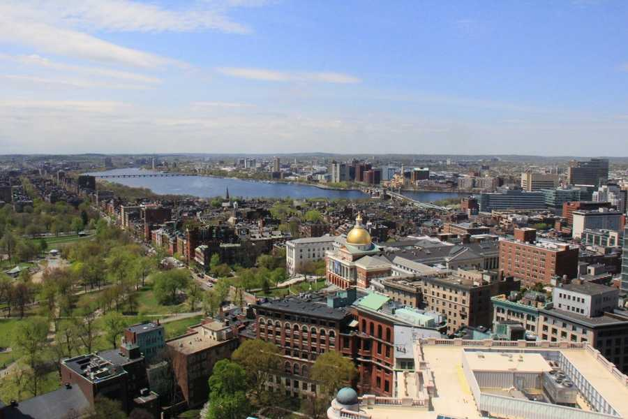 More views from the roof deck of 45 Province. Looking toward the Charles River, Back Bay and Cambridge.