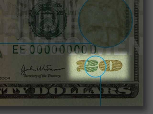 Color-Shifting Ink - Tilt the note to see the numeral 20 in the lower right front corner of the bill shift from copper to green.