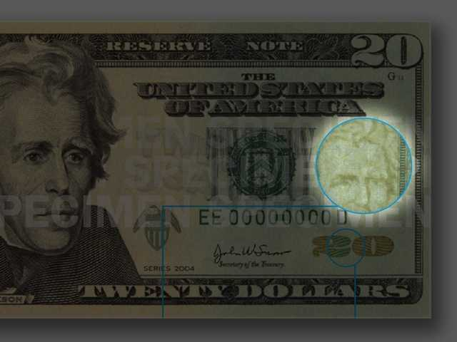Watermark - When holding the bill to light, look for a faint image of President Jackson in the blank space to the right of the portrait. You can see the image from both sides of the bill.
