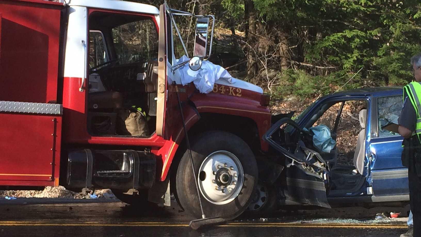 SUV, firetruck collide on Deering Center Road