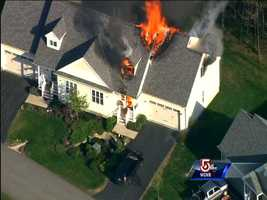 5:00 p.m. - Fire reported at the front of the residence.