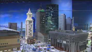 The life-like display uses over 1.5 million LEGO bricks and features dozens ofminature Boston landmarks.