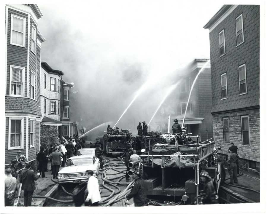 At the height of the fire, a large plume of smoke was visible from as far away as 15 miles, the Boston Fire Historical Society writes on its website.