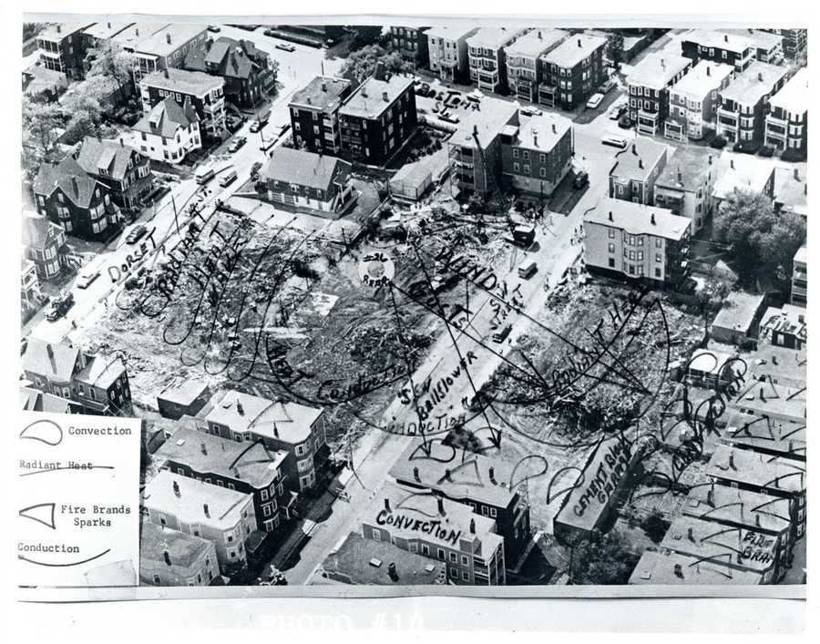 An aerial view of the devastation left by the fire.