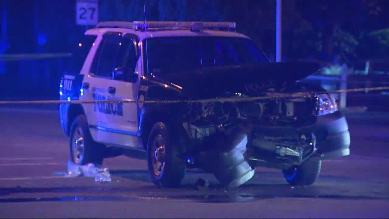 Five peoplewere  hurt including two police officers after a crash in Whitman.