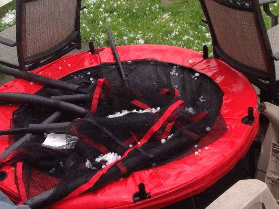 Hail on trampoline in Rutland