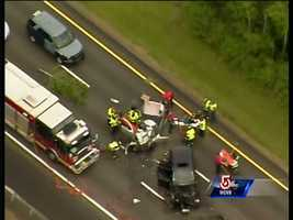 Police say the 58-year-old woman, from Foster, died in the 4:22 p.m. Friday crash, near Exit 11 in Norwood.