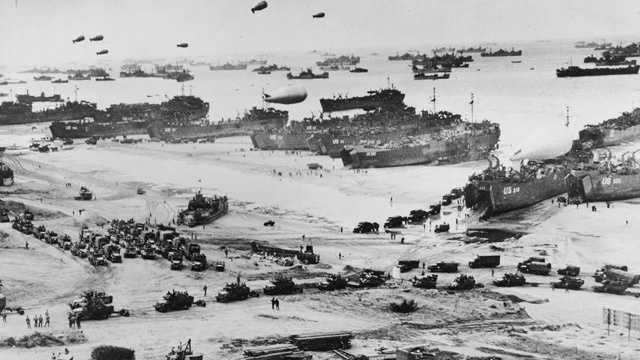 Overnight heading into June 6, 1944, a military armada and more than 156,000 troops crossed the English Channel. Minesweepers went ahead to clear the waters in preparation for the more than 2,300 landing crafts carrying men, vehicles and supplies.