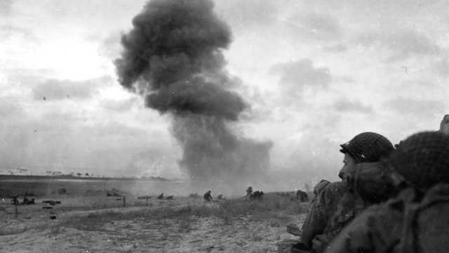 Six parachute regiments of more than 13,000 men were flown from nine British airfields in more than 800 planes. More than 300 planes dropped 13,000 bombs over coastal Normandy immediately in advance of the invasion.