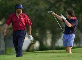 O.J. Simpson golfs on the Club Meadows Course at the Bay Point Yacht and Country Club in Panama City Beach, Fla. Wednesday afternoon Oct. 18, 1995. Simpson's first public appearance since the trial was the previous day, when he golfed at the Hombre Golf Club in Panama City Beach.
