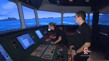 Training at Mass. Maritime is state of the art. This simulator, is one of just nine, worldwide.
