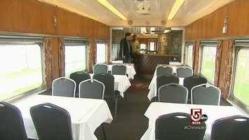 This 1917 lounge car. with its leather, wrap around bar, was built for the Illinois Central.