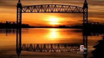Before returning to Hyannis, the train crosses the bridge, around sunset.