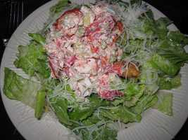 Cape Cod clam chowder is on the menu at the Impudent Oyster in Chatham and so is this lobster salad.