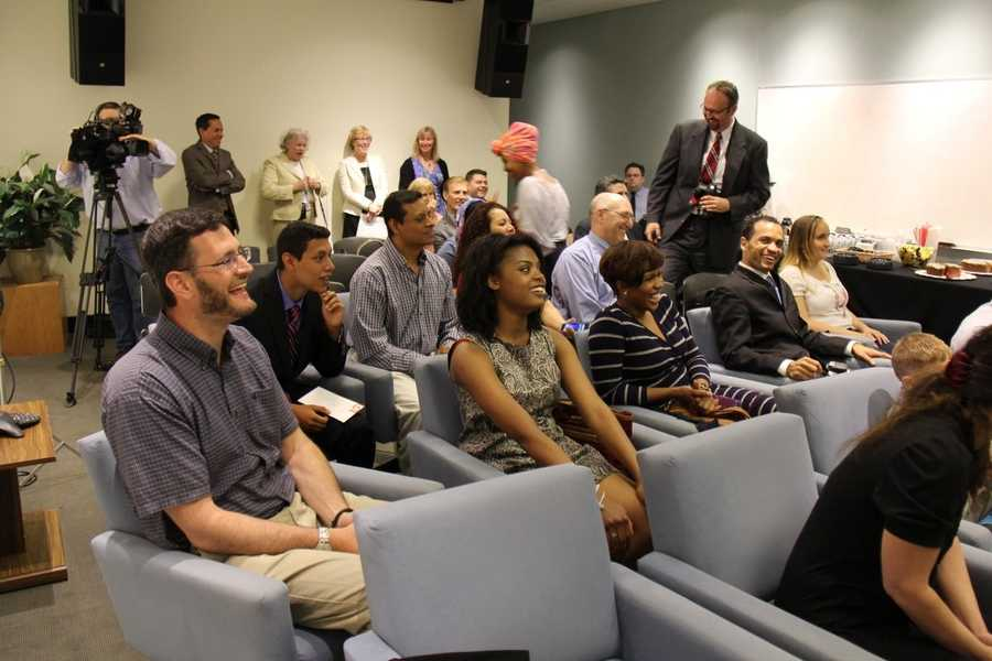 Families, mentors and members of the WCVB staff were on hand for the presentation to the students.