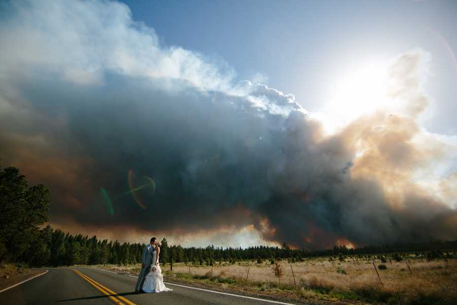 """""""It's terrible to be evacuated from your own wedding,"""" said Lisa Clark, a fire information officer with the Central Oregon Interagency Dispatch Center. """"But it's a story for the rest of their lives and nothing that could be duplicated."""""""
