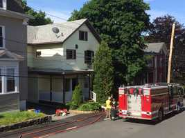 Crews were called to 10 Hersham St. shortly before 7 a.m. Upon arrival, firefighters quickly knocked down the fire. One firefighter sustained minor injuries.
