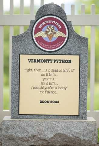 Vermonty Python2006 – 2008Coffee liqueur ice cream with chocolate cookie crumb swirl & fudge cows.