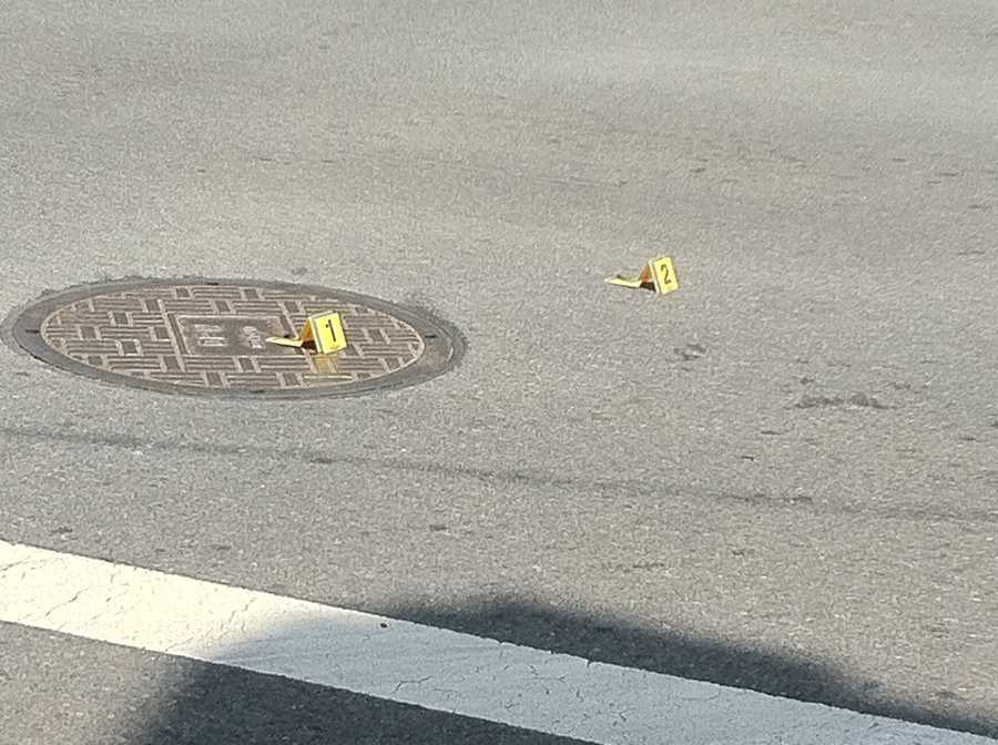 Casings from shooting at Preston and Maryland where witnesses said police started shooting from their car at the steer.