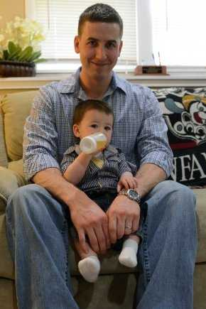 At his home in New Hampshire, May 3, 2014, Ryan Pitts, who is to receive the Medal of Honor for actions in Afghanistan, relaxes with his son Lucas.