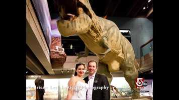 """Many couples say """"I do,"""" in front of the dinosaurs."""