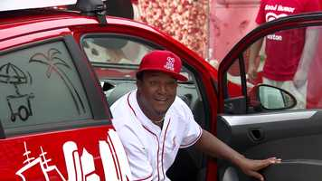 Pedro Martinez joined the Good Humor Man serving up frozen treats to the large crowd.