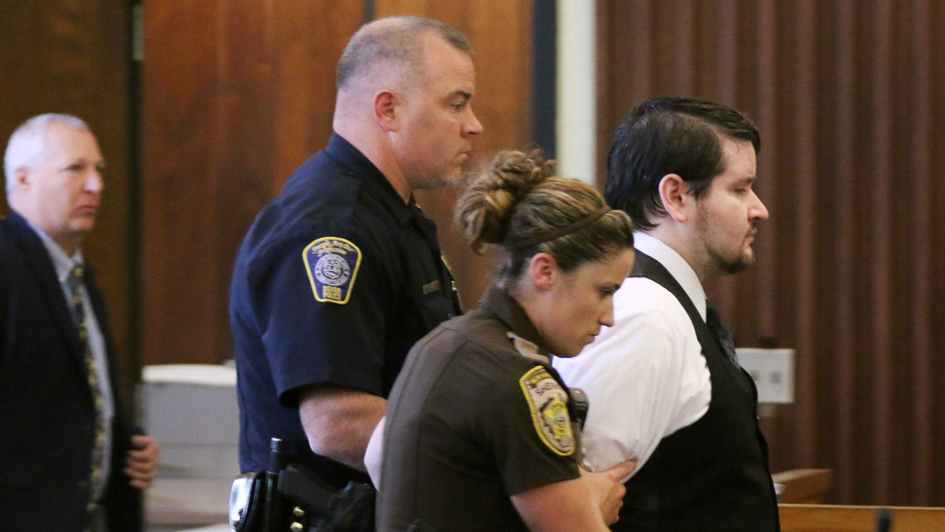 "Defendent Seth Mazzaglia, right, is lead from the courtroom Friday, June 27, 2014 in Strafford County Superior Court in Dover, N.H. after he was found guilty of murder for the the Oct. 9, 2012 strangulation death of 19-year-old Elizabeth ""Lizzi"" Marriott, who was a student at the University of New Hampshire."