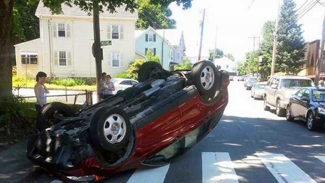 Waltham Student Driver Car Flip 6.29.14