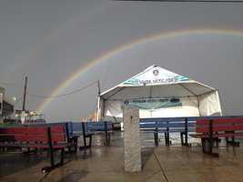 A rainbow over Salisbury Beach after the storm passes.