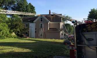 Lightning damaged a home and started a fire in Ayer.