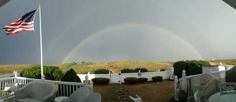 A rainbow in Seabrook, New Hampshire after the storm.