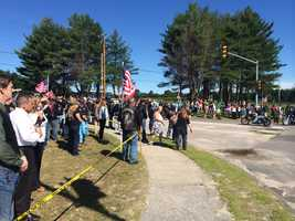 Large crowds gather for the funeral service held for Cpl. Brandon Garabrant, 19, who died along with two other Marines in Afghanistan less than eight weeks after being deployed.