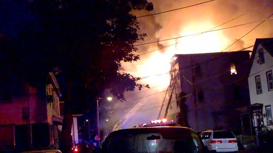 The three-alarm blaze was reported at about 3:30 a.m. Thursday.