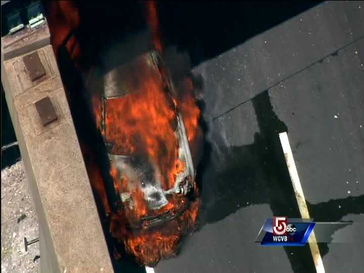 A van caught fire along the eastbound lanes of the Massachusetts turnpike Friday afternoon.