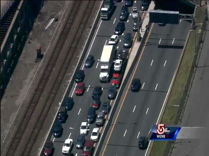 The eastbound lanes of the Massachusetts Turnpike near the Southeast Expressway were shutdown for a short time.