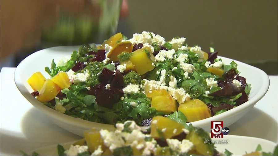 A lunch, roasted beet and goat cheese salads are popular.