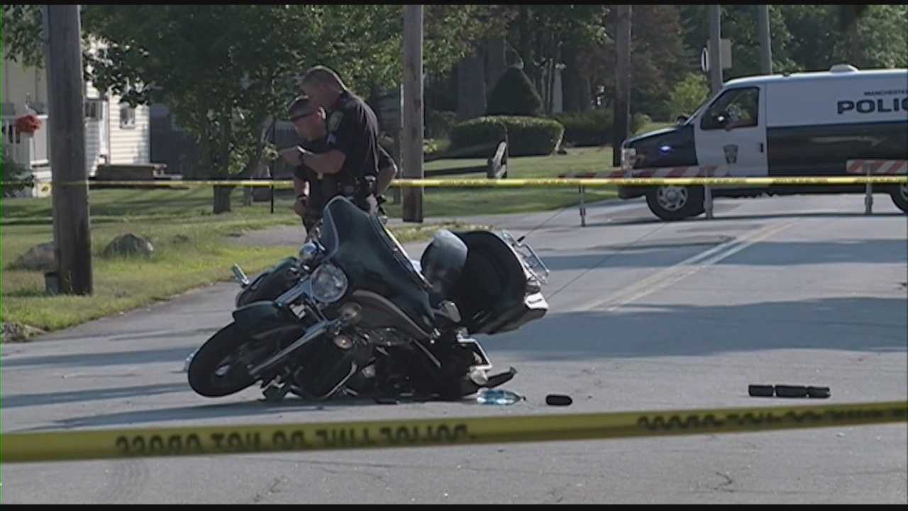 Manchester police say a motorcyclist has died after his bike and a car collided at a street intersection in the New Hampshire city.