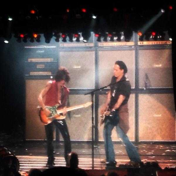 """Depp helped close the show with """"Train Kept A-Rollin."""""""