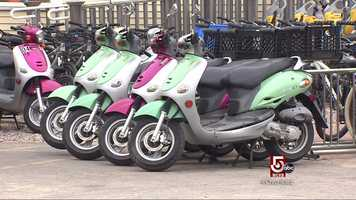 Mopeds are a popular choice to get around.