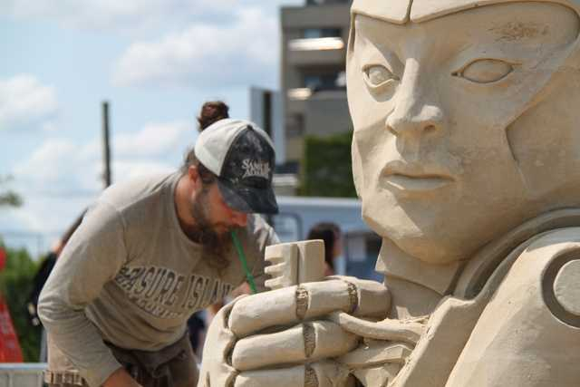 Bouchard travels the world making sand sculptures for commercial events,competing in many competitions throughout the U.S.
