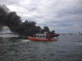 A boat fire in Nantucket Harbor sent thick black smoke billowing into the air Saturday afternoon.
